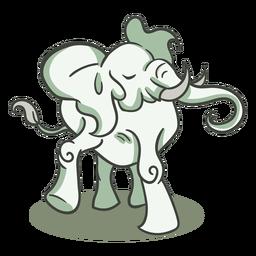 Personagem de elefante verde elegante