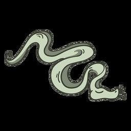 Serpiente verde personaje elegante