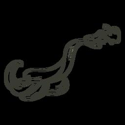 Carácter de serpiente de trazo elegante