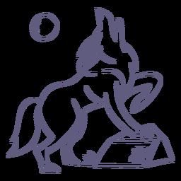 Personagem de lobo de acidente vascular cerebral elegante