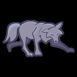 Stylish wolf character walks