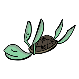 Personagem de tartaruga dorme elegante