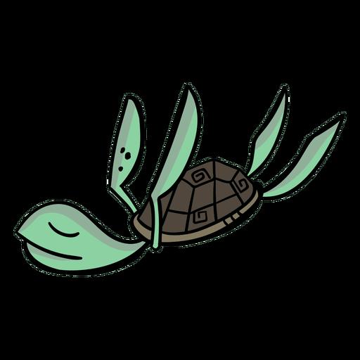 Turtle character sleeps stylish