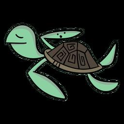 Desenho animado elegante do personagem de tartaruga