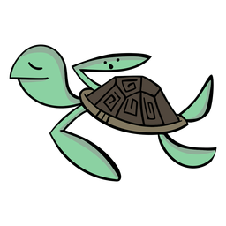 Turtle character stylish cartoon