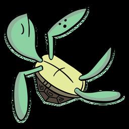 Tortuga personaje elegante verde