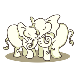 Personagens elegantes de dois elefantes