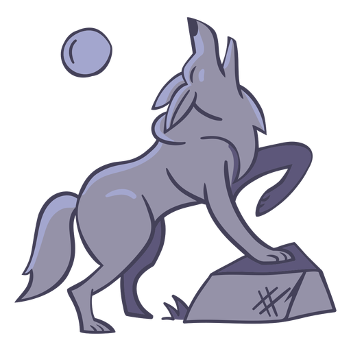 Wolf character moon stylish