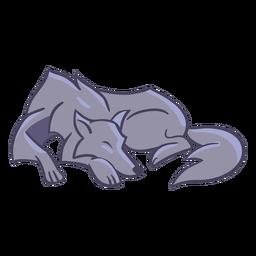 Personagem elegante lobo dormindo