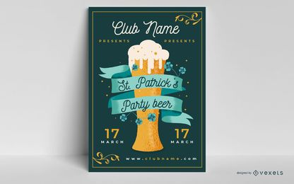 St patrick's beer party poster template