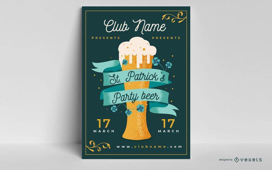 Plantilla de póster de fiesta de la cerveza de san patricio