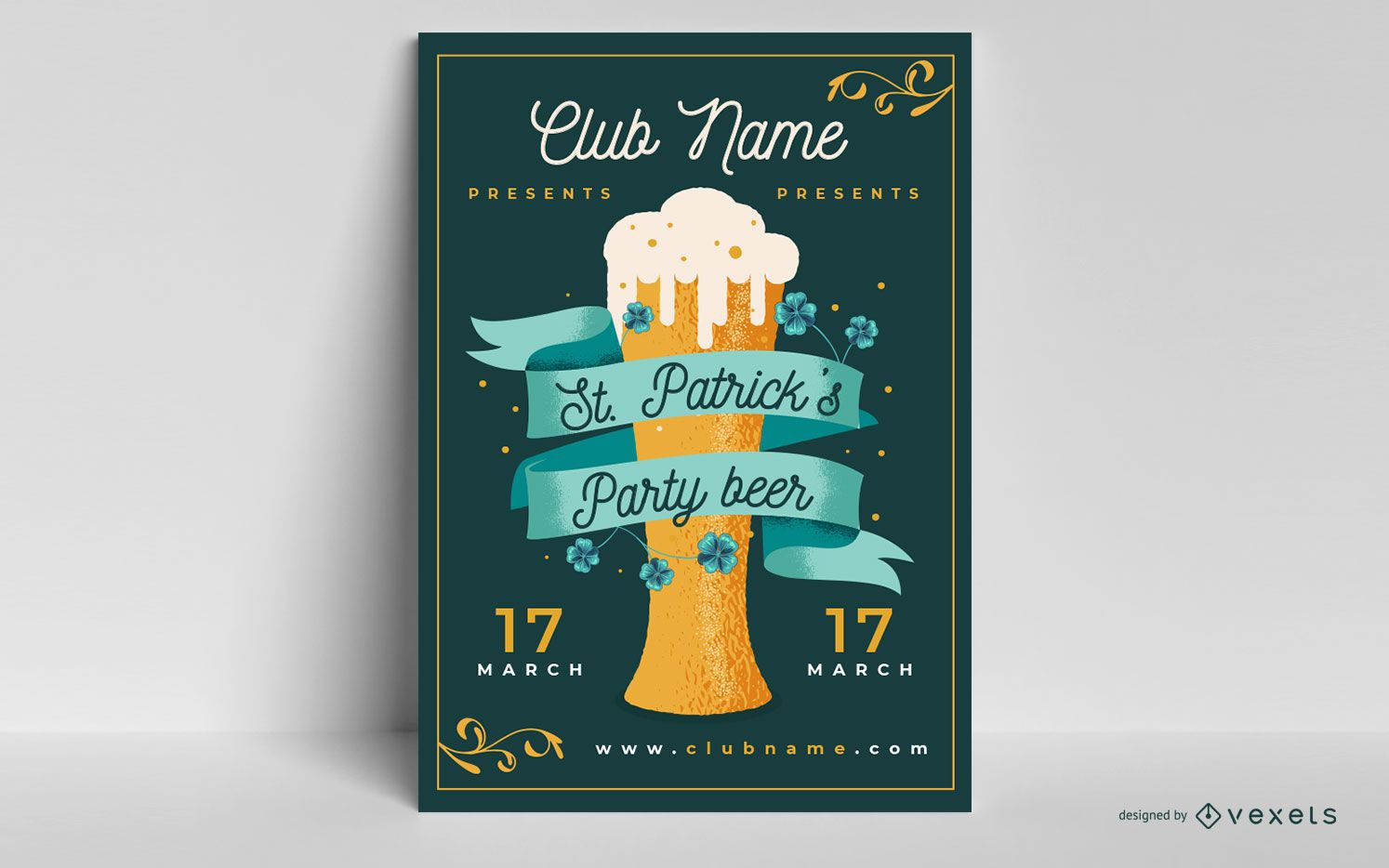Plantilla de cartel de fiesta de cerveza de san patricio