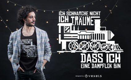 Diseño de camiseta ronca con cita alemana