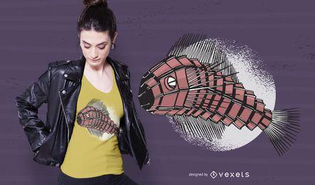 Projeto do t-shirt dos peixes do robô