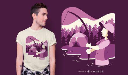 Design de t-shirt de pesca de mulher