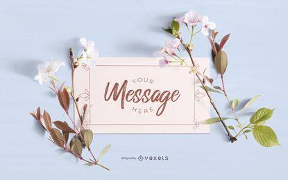 Design de maquete de cartão floral