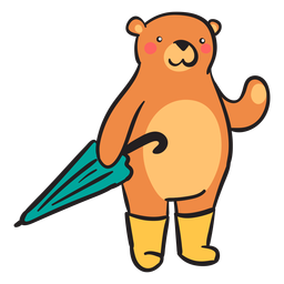Cute brown bear carrying umbrella