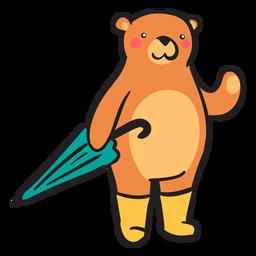 Lindo oso pardo llevando paraguas