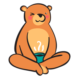 Cute brown bear drinking coffee