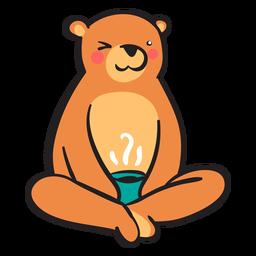 Cute brown bear drinking coffee