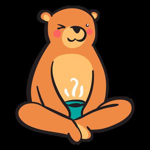 Lindo oso pardo tomando café Transparent PNG