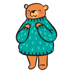 Cute brown bear green sweater