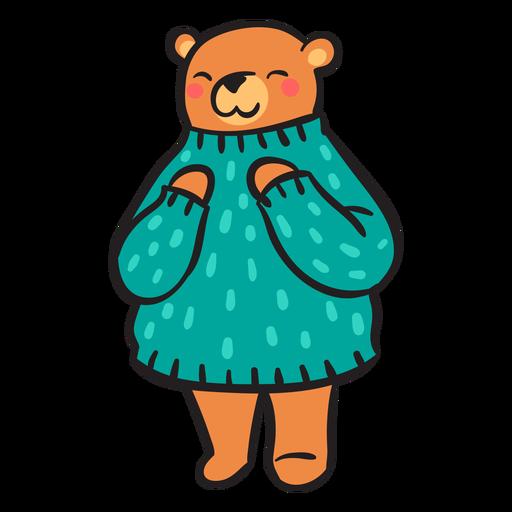 Cute brown bear green sweater Transparent PNG