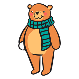 Bola de neve bonito cachecol urso marrom