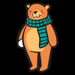 Bola de nieve linda bufanda de oso pardo