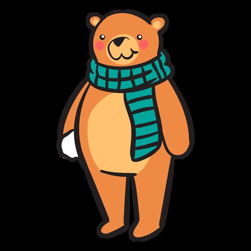 Bola de nieve linda bufanda de oso pardo Transparent PNG