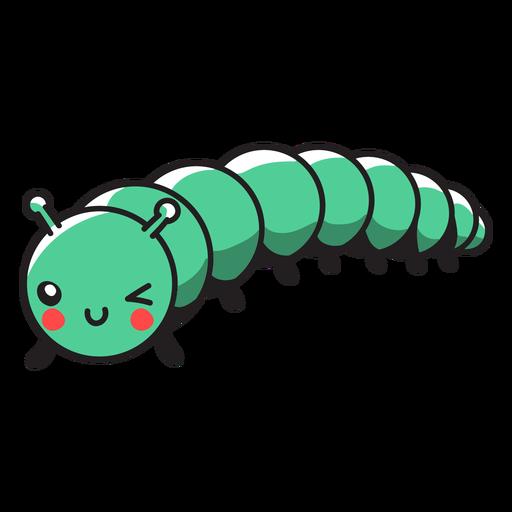 Cute green caterpillar crawling