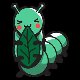 Linda oruga verde comiendo hojas