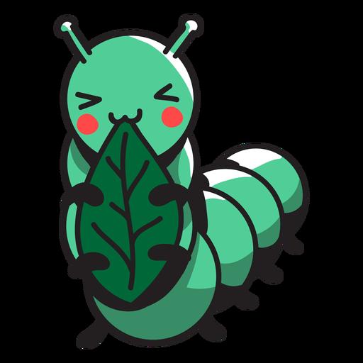 Lagarta verde bonita que come a folha Transparent PNG