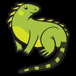 Iguana verde fofa