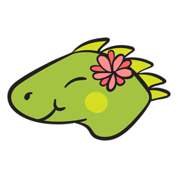 Cute green iguana head