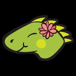 Linda cabeza de iguana verde