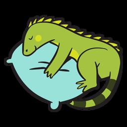 Linda iguana verde durmiendo