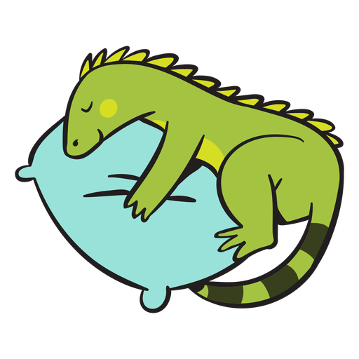 Cute green iguana sleeping Transparent PNG