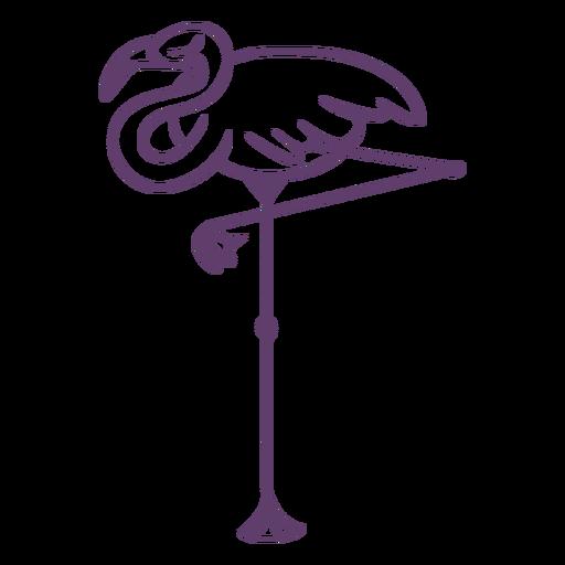 Flamingo sleeping outline
