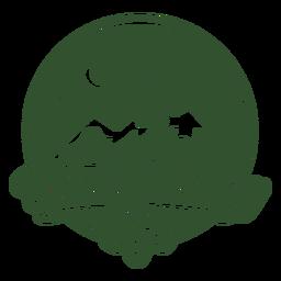 Insignia de montaña de la vida con mochila