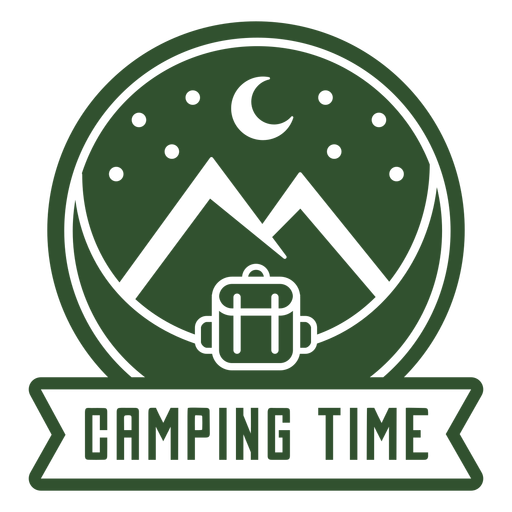 Camping time backpack mountain badge Transparent PNG