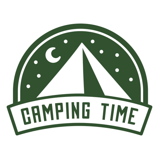 Camping time mountain night badge Transparent PNG