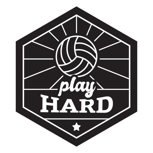Play hard volleyball badge Transparent PNG
