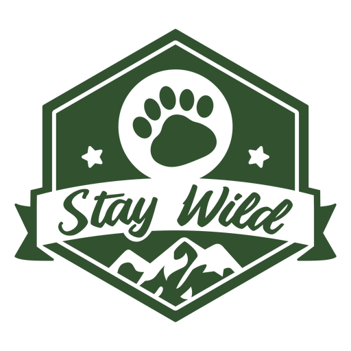 Stay wild footprint mountain badge Transparent PNG