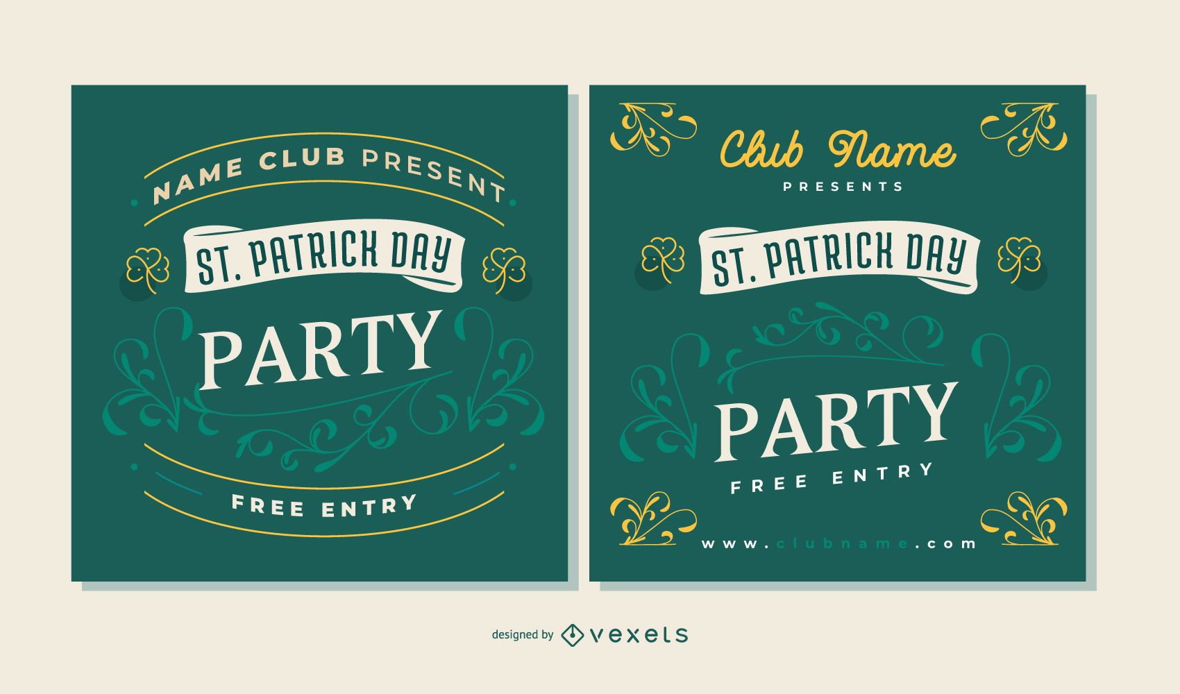 Conjunto de banners de fiesta del día de st partick
