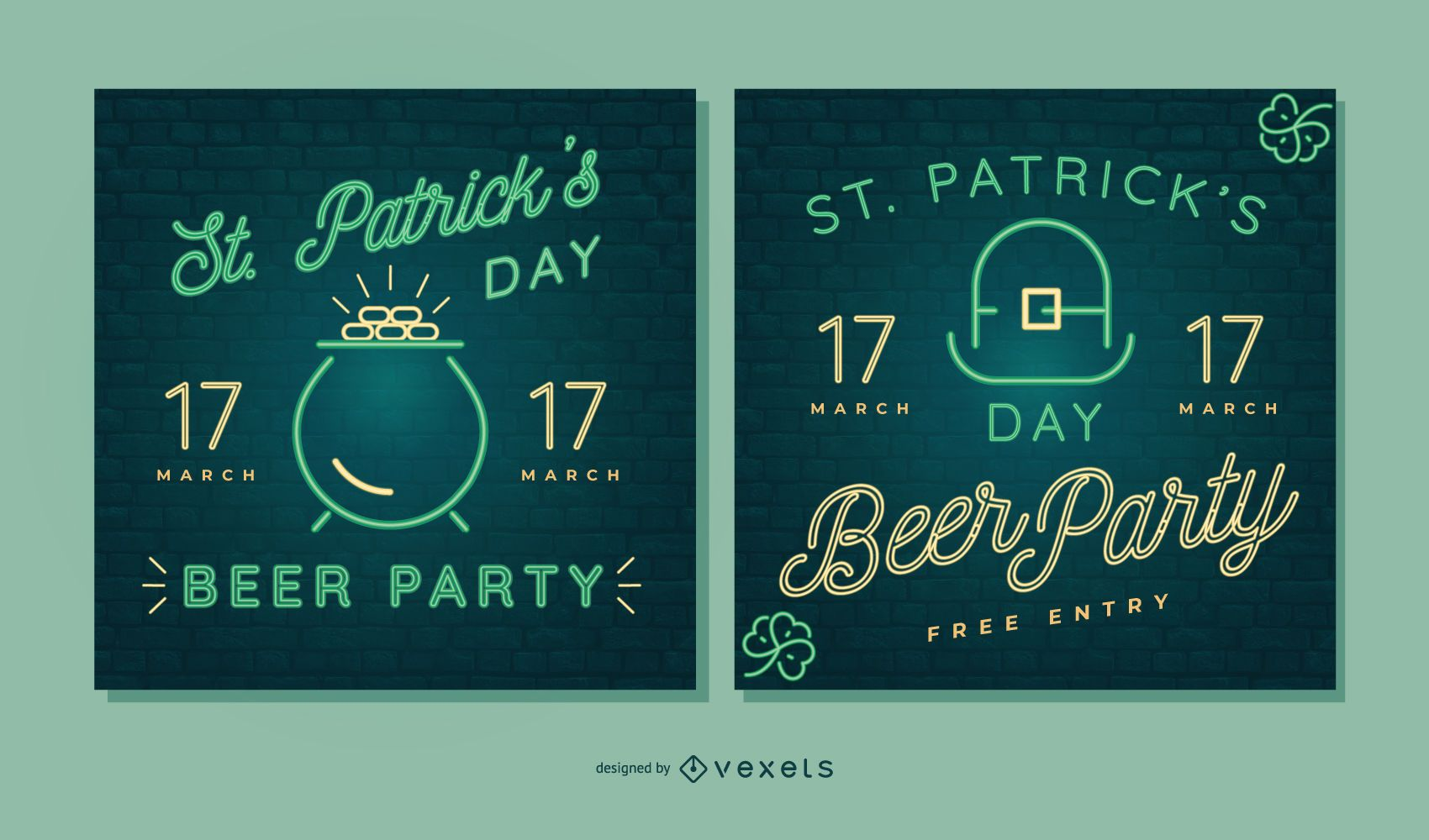 St partick's day neon banner set