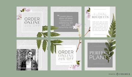 Conjunto de publicaciones florales de redes sociales