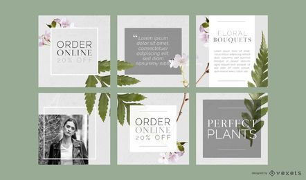 Conjunto floral de publicaciones en redes sociales
