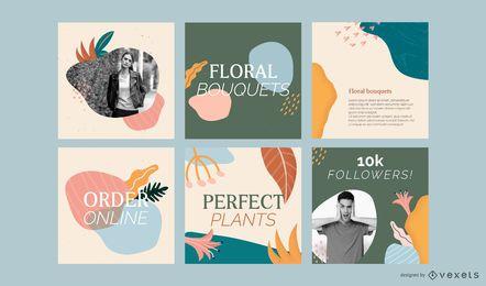 Conjunto de publicaciones abstractas de redes sociales