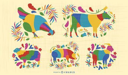 Conjunto de animales de granja otomí